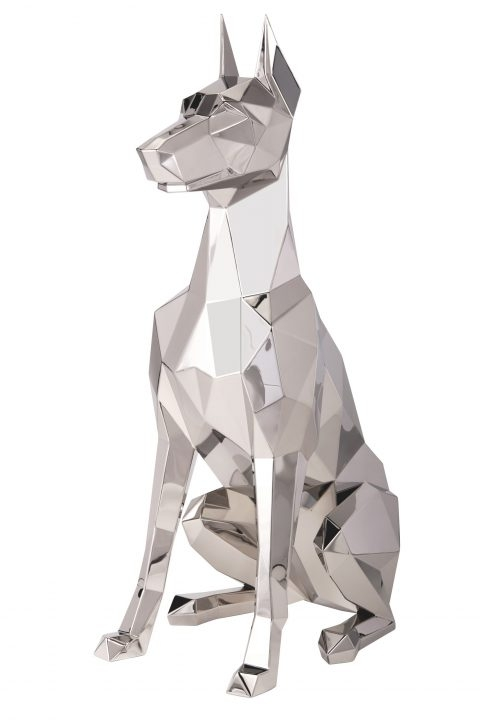 metal dog sculpture