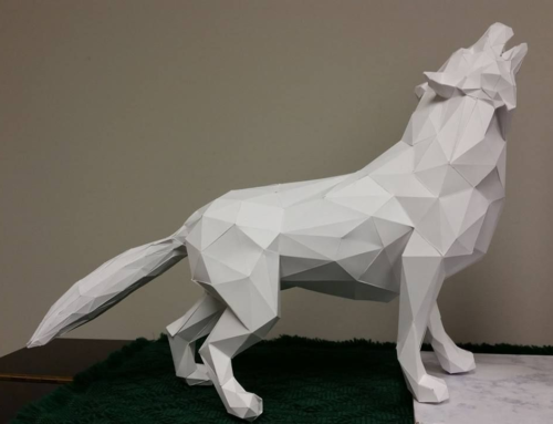 Customized handmade contemporary geometric white wolf sculpture