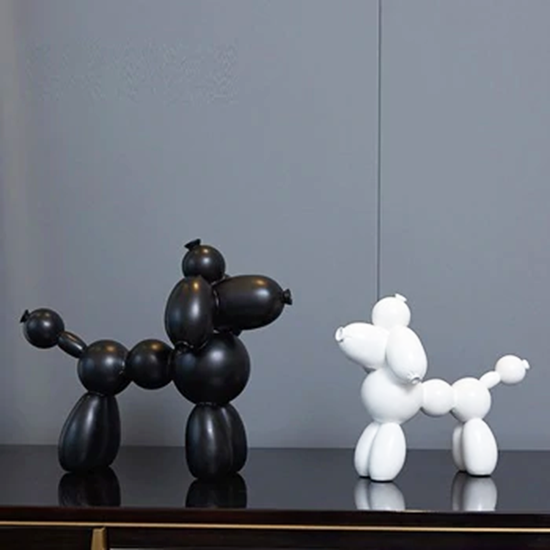 Art shop customized cartoon style indoor black and white dog sculpture