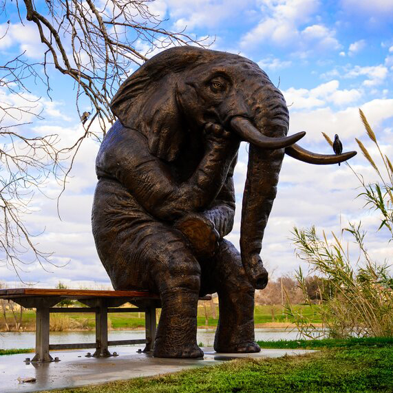 Wise elephant sculpture