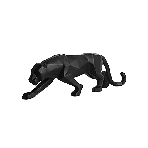 Customized abstract expressionist black panther animal fiberglass sculpture