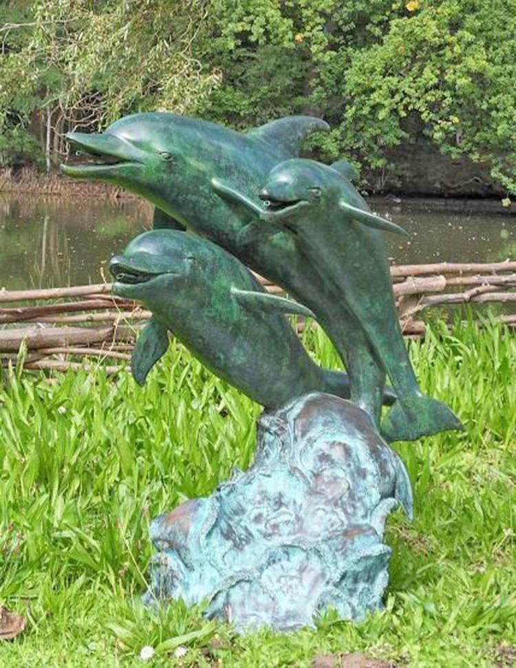 bronze garden dolpnin sculpture