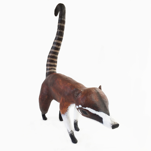 Contemporary handmade custom fiberglass coati sculpture for outdoor