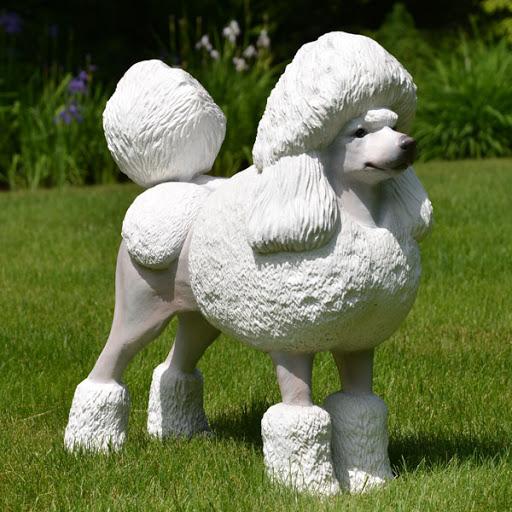 Customized handmade lovely white fiberglass dog sculpture for pet grooming