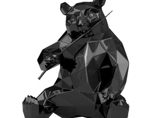 Handmade factory price geometry fiberglass panda sculpture for outdoor