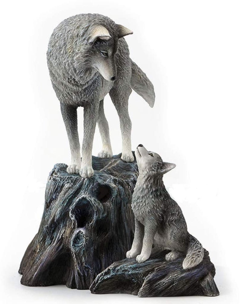 Hot selling customized artificial crafts fiberglass wolf sculpture