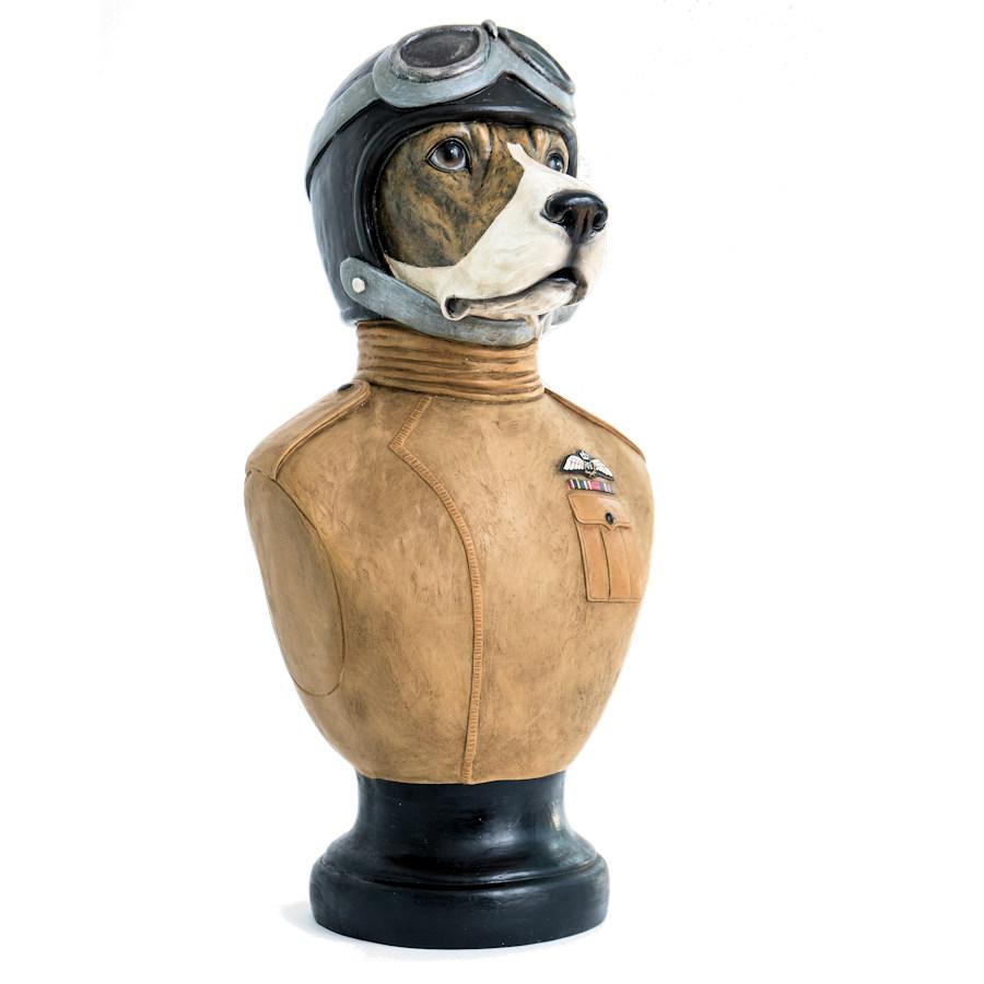 Handmade custom top sale personification fiberglass dog pilot bust sculpture