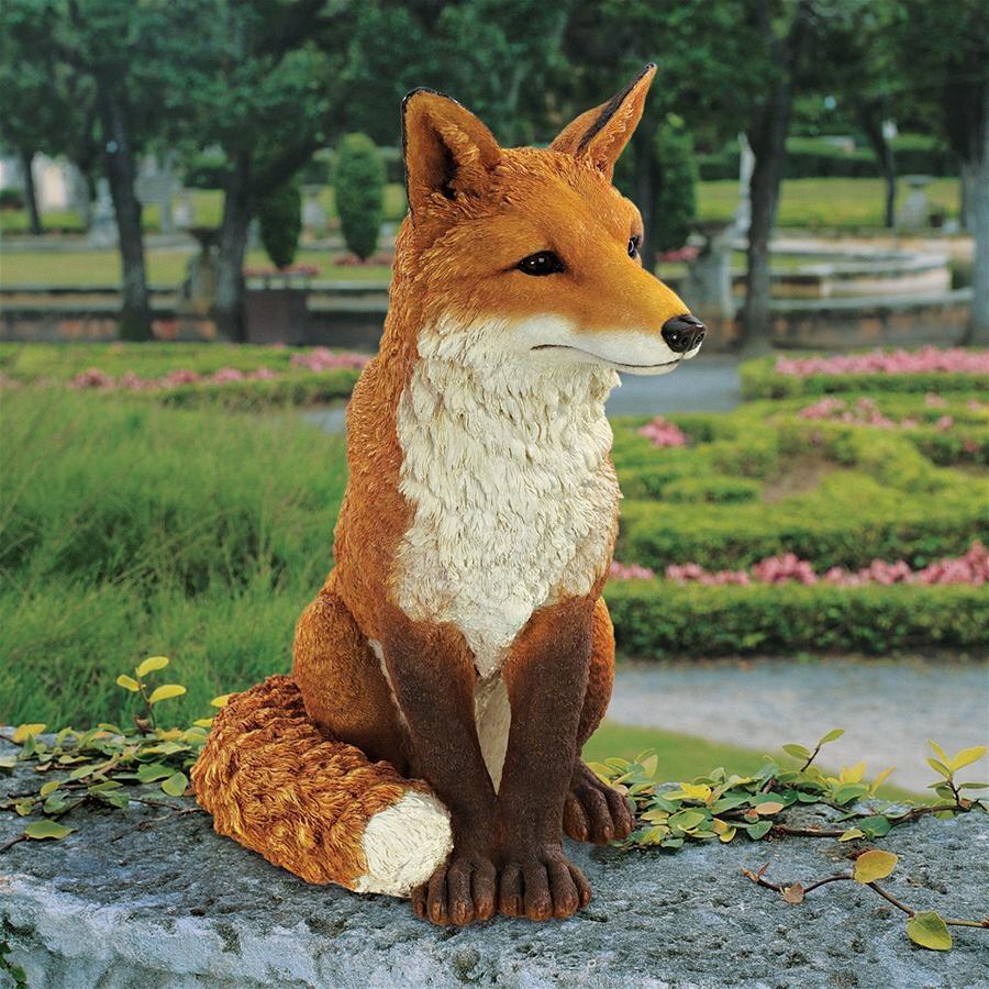 Contemporary customized artificial crafts fiberglass red fox sculpture
