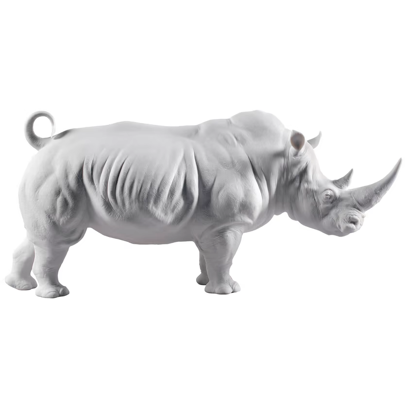 Art shop hot selling artificial carved fiberglass white rhino