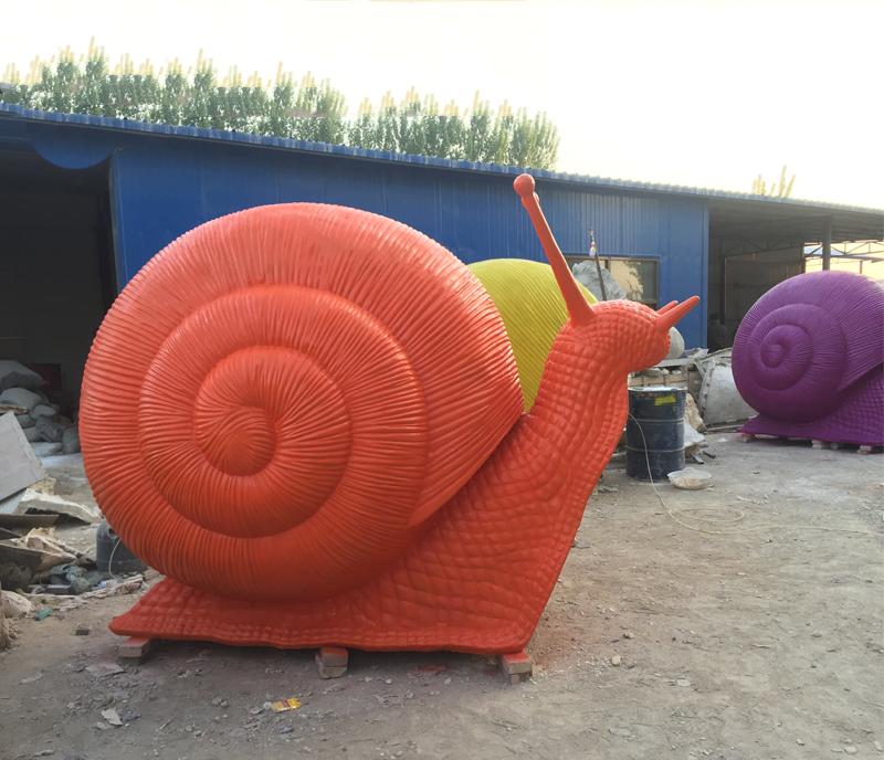 Art shop hot selling artificial carved garden fiberglass snail sculpture