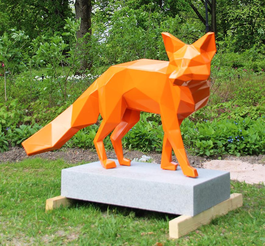 Art shop top selling handmade abstract expressionist fiberglass fox sculpture