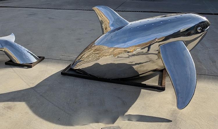 metal dolphin sculptures for the garden