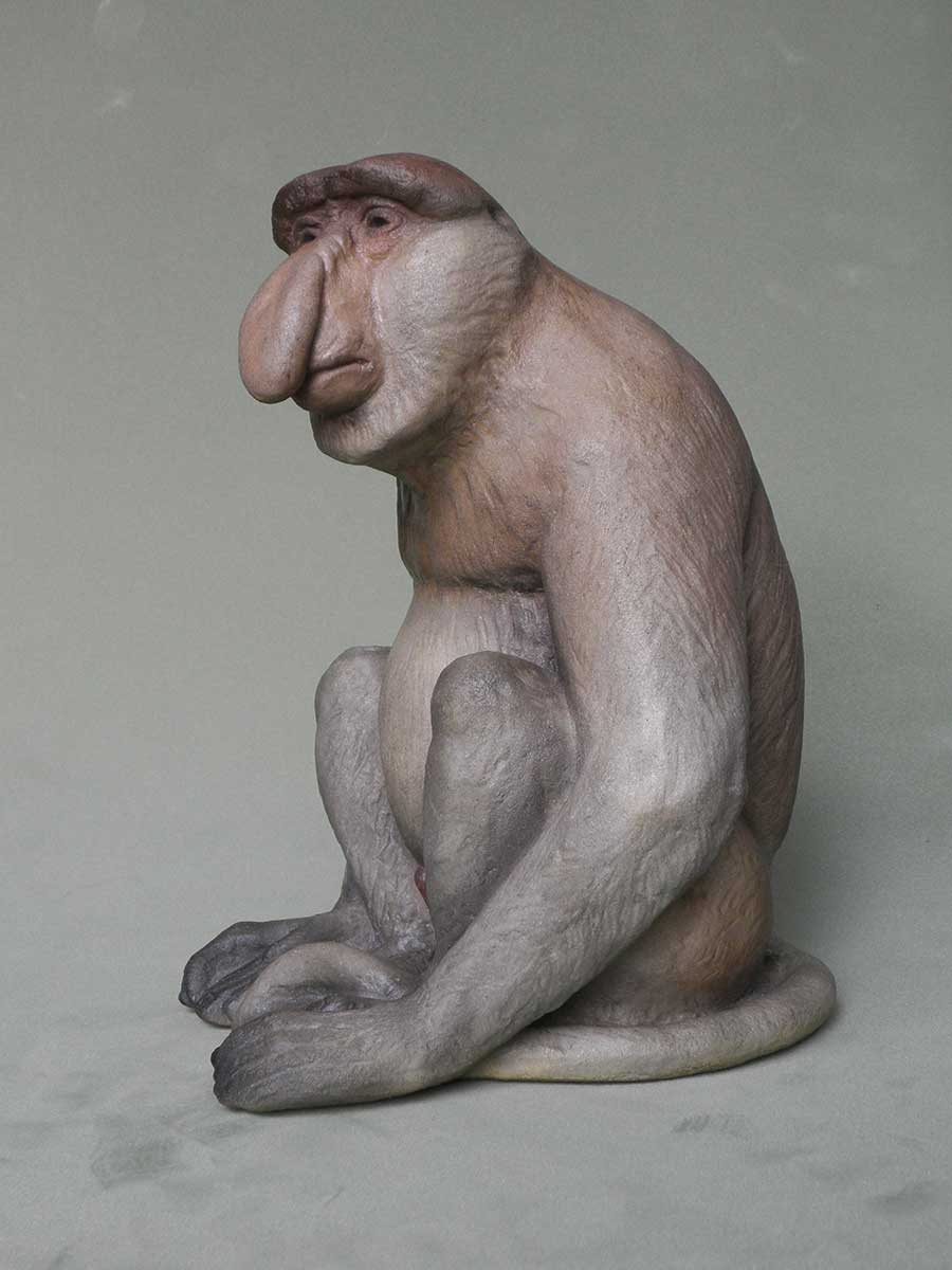Art shop custom artificial carved fiberglass proboscis monkey sculpture
