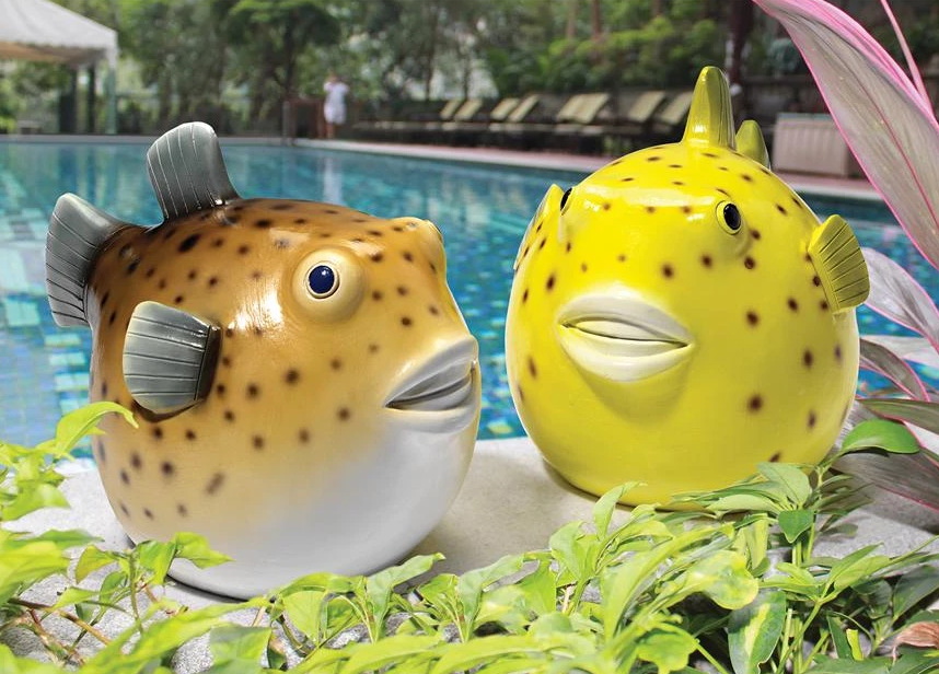 Contemporary artificial crafts custom fiberglass puffer fish sculpture