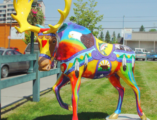 handmade custom colorful resin moose statue for outdoor decoration