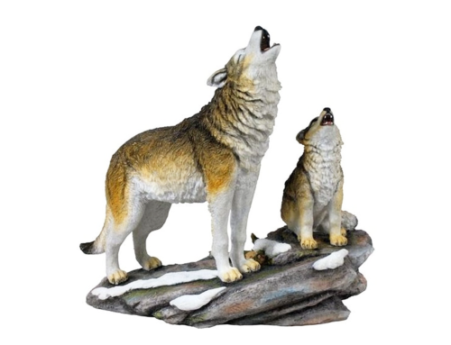 Handmade hot selling customized ornamental fiberglass wolf sculpture