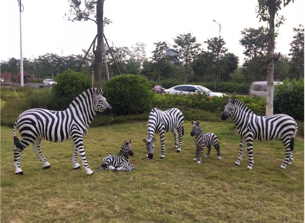 Art shop hot selling customized handmade fiberglass zebra sculpture