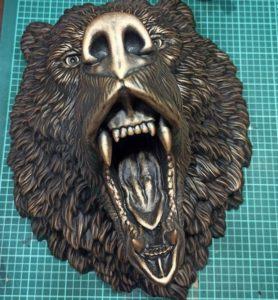 large bear head statue