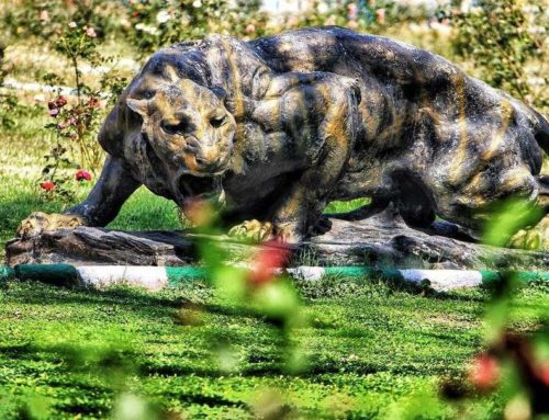 Outdoor Bronze Angry Large Tiger Garden Ornament
