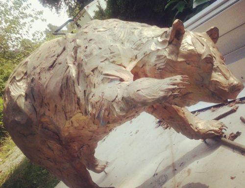 Life Size Garden Bronze Standing Bear Statue