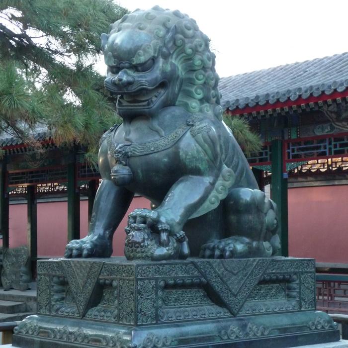 Large bronze foo dog statue