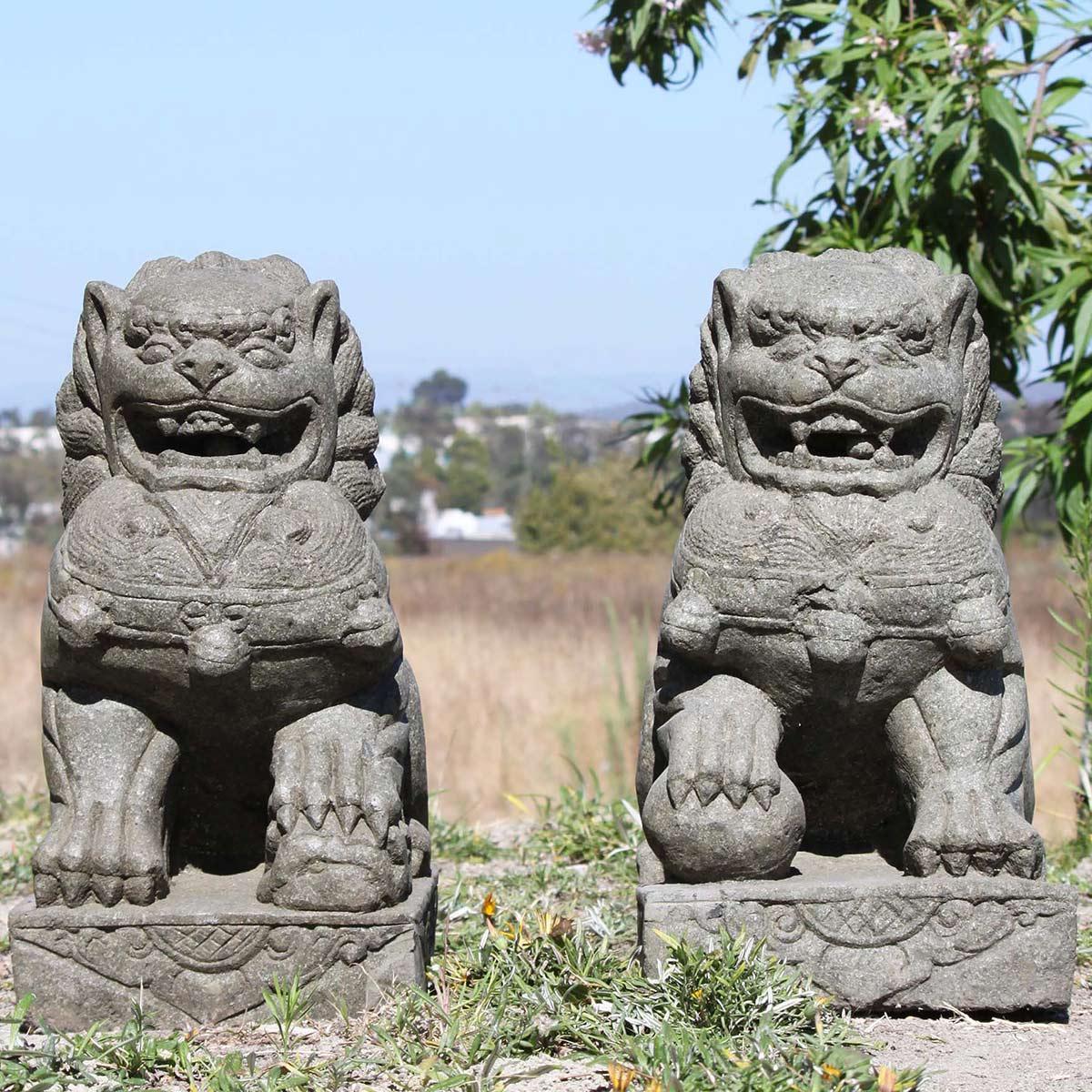 Pair of stone Foo dogs