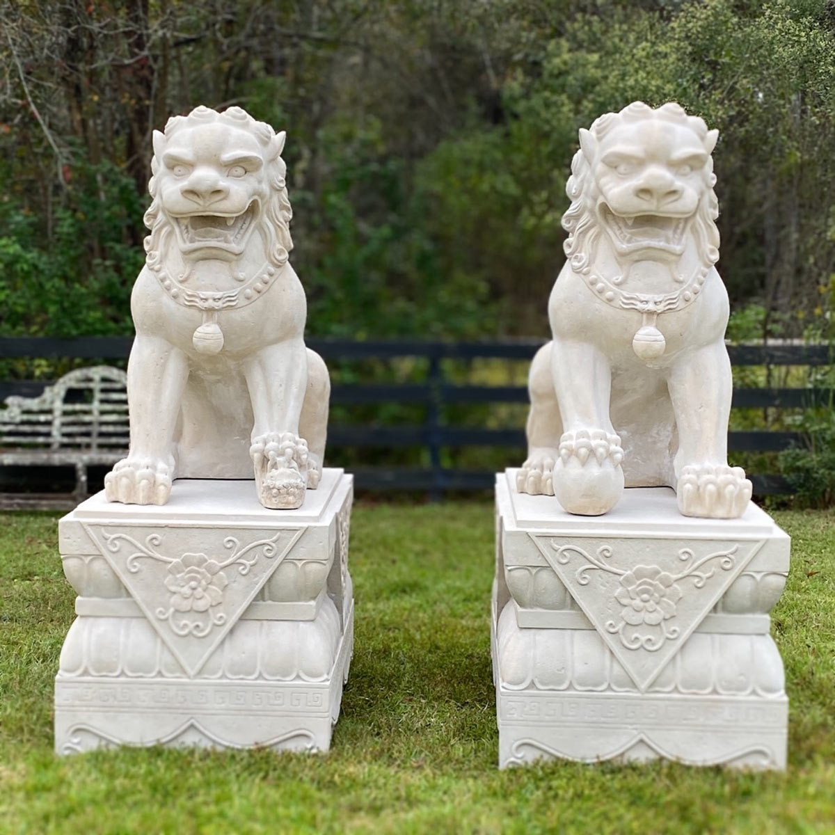 White Marble Foo Dogs Statue