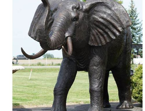 Outdoor Life Sized Standing Bronze Giant Elephant Statue