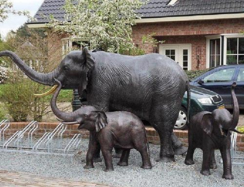 Large Bronze Outdoor Mother and Baby Elephant Statue