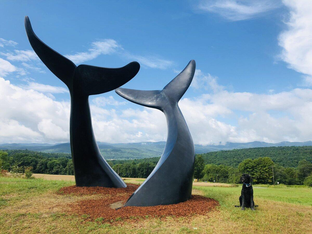 outdoor dolphin tail sculptures