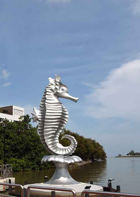outdoor stainless steel sea horse