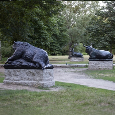 outdoor garden deer sculpture
