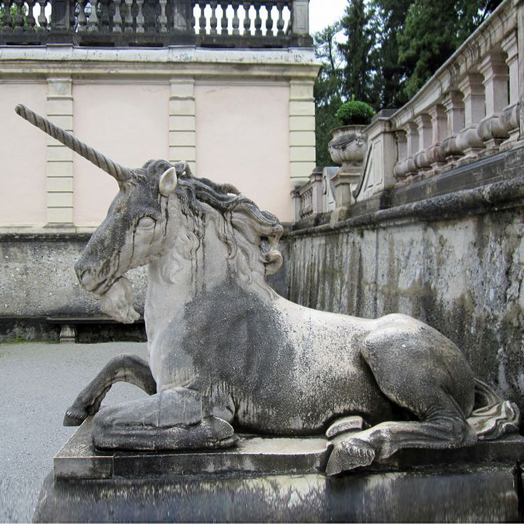 Outdoor Lying unicorn stone statue