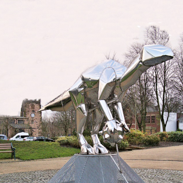 steel dinosaur sculptures